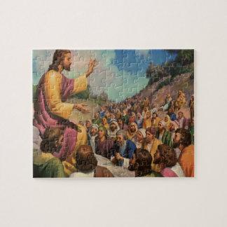 Quebra-cabeça Religião do vintage, o sermão na montagem