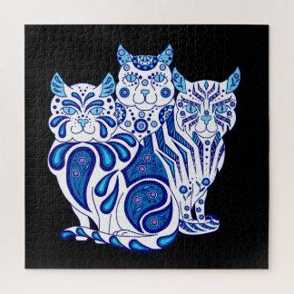 Quebra-cabeça Remendos/listras do design do gato da arte popular