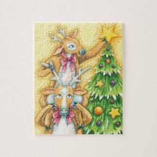 Quebra-cabeça Rena bonito do Natal com a estrela da árvore de