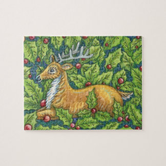 Quebra-cabeça Rena bonito do Natal na floresta com azevinho