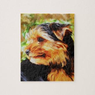 Quebra-cabeça Retrato da arte da aguarela do cão do yorkshire