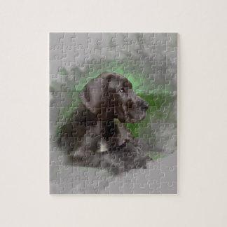 Quebra-cabeça Retrato de assento da arte da aguarela do cão de