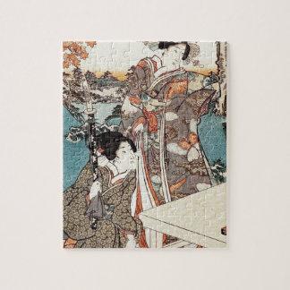Quebra-cabeça Rolo velho da gueixa japonesa do ukiyo-e do