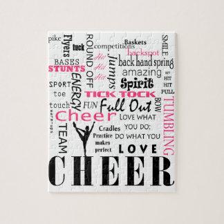 Quebra-cabeça rosa e preto cheerleading do elogio