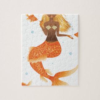 Quebra-cabeça Sereia da cauda dos peixes do ouro
