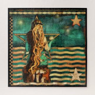 Quebra-cabeça Sereia pelo mar com lua e estrelas