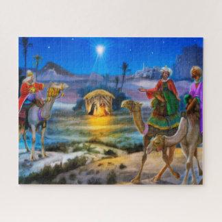 Quebra-cabeça Serra do gabarito do feriado da natividade com