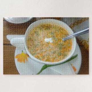 Quebra-cabeça Sopa de Vegetabla com creme de leite