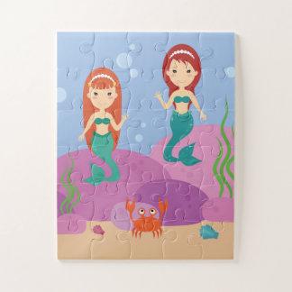 Quebra-cabeça subaquático das sereias bonitos do