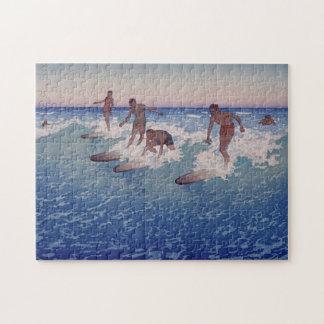 "Quebra-cabeça ""Surf-Cavaleiros, Honolulu"" - Charles W. Bartlett"