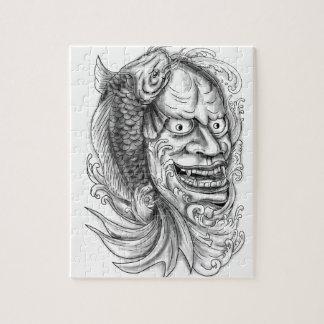 Quebra-cabeça Tatuagem de conexão em cascata da água dos peixes
