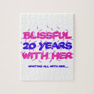 Quebra-cabeça Tendendo o 20o design do aniversário do casamento