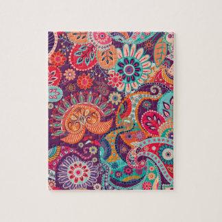 Quebra-cabeça Teste padrão de flor chique do hippy boémio da