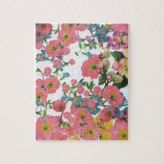 Quebra-cabeça teste padrão floral do tema das flores elegantes