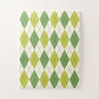 Quebra-cabeça Teste padrão geométrico verde retro de Argyle
