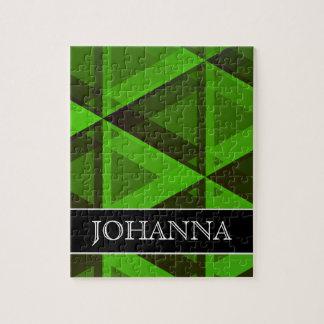 Quebra-cabeça Teste padrão verde abstrato dos triângulos + Nome