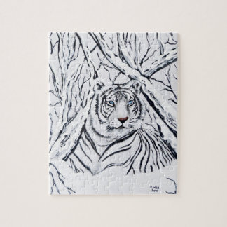Quebra-cabeça Tigre branco que mistura-se dentro