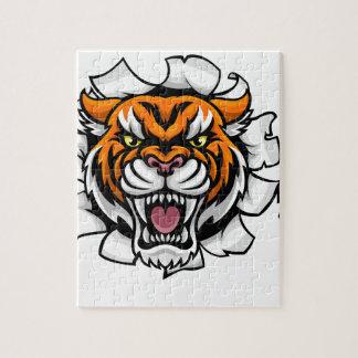 Quebra-cabeça Tigre que guardara a bola do basebol que quebra o