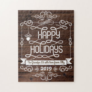 Quebra-cabeça Tipografia rústica do Natal da madeira boas festas