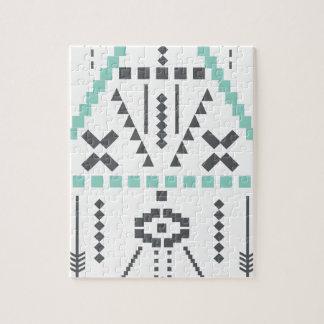 Quebra-cabeça Totem de Boho, símbolo étnico, Hippie, asteca,