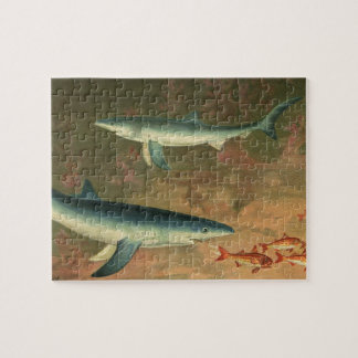 Quebra-cabeça Tubarão azul do vintage que come peixes, vida