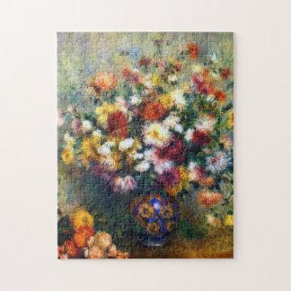 Quebra-cabeça Vaso de Renoir de belas artes dos crisântemos