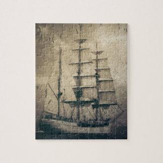 Quebra-cabeça Veleiro náutico da navigação do vintage do mar do