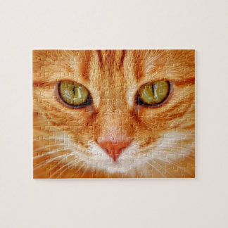 Quebra-cabeça Verde bonito gato de tigre alaranjado Eyed