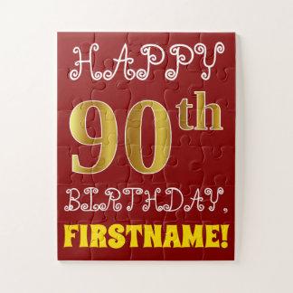 Quebra-cabeça Vermelho, aniversário do 90 do ouro do falso +
