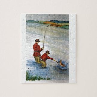 Quebra-cabeça Viagem de pesca do pai e do filho