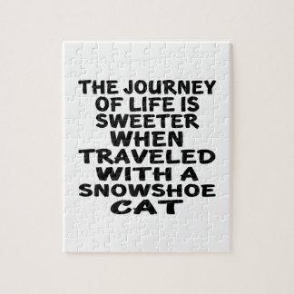 Quebra-cabeça Viajado com gato do sapato de neve