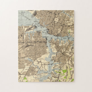 Quebra-cabeça Vintage Norfolk & Portsmouth Virgínia Mapa (1944)