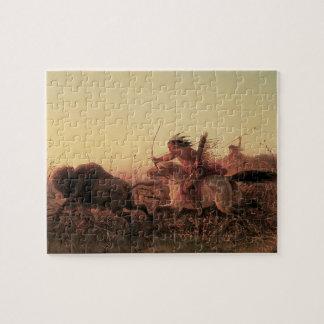 Quebra-cabeça Vintage ocidental, caça do búfalo indiano por