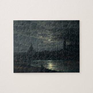 Quebra-cabeça Vista de Dresden pelo luar - J.C. Dahl 8x10