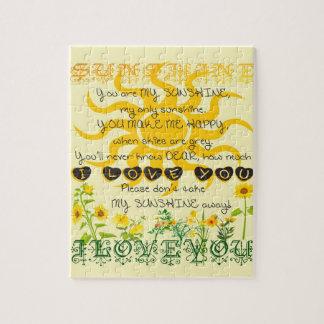 Quebra-cabeça Você é minha luz do sol no amarelo com corações