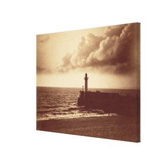 Quebra-mar em Sete c 1855 impressão do albume da Impressão De Canvas Esticada