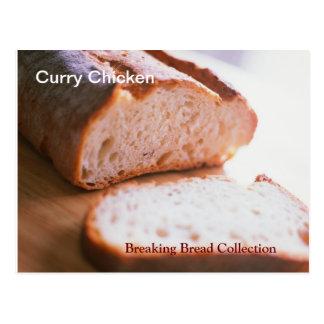 Quebrando o cartão da receita da galinha do caril