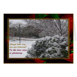 """""""Queda de neve """"em ondas do Natal"""""""" cartão"""