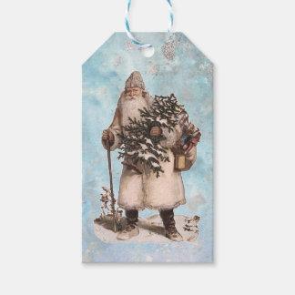 Queda de prata da neve do papai noel do Natal do Etiqueta Para Presente