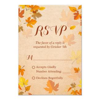 Queda dourada RSVP das folhas de bordo do outono Convite 8.89 X 12.7cm