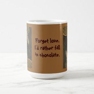 queda no humor do chocolate caneca de café