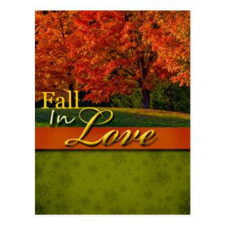 Queda rústica no cartão do casamento do amor cartão postal