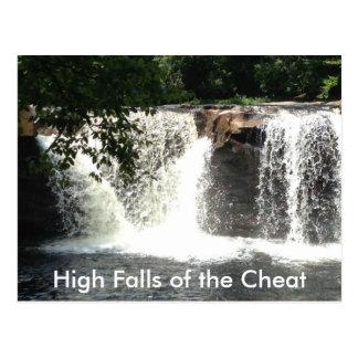Quedas altas de cartão da cachoeira do rio WV da