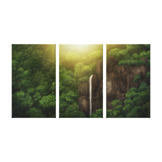 Quedas da selva - impressão das canvas (3 painéis) impressão de canvas esticada