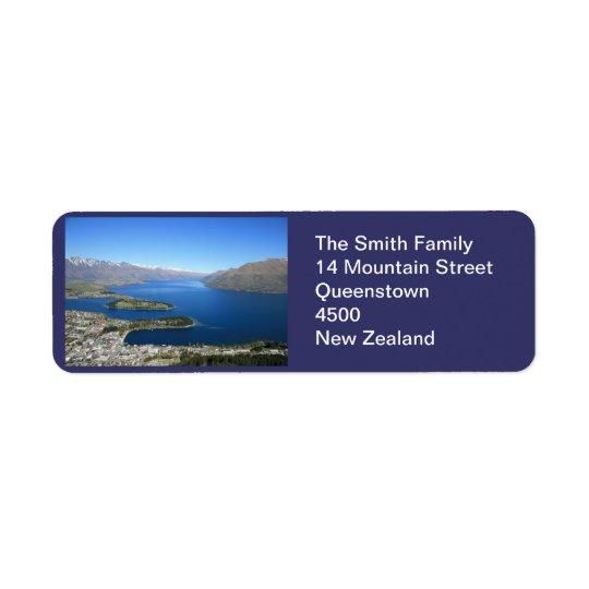 Queenstown NZ, etiqueta de endereço customizável