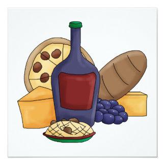 Queijo italiano do vinho do pão da massa da comida convites