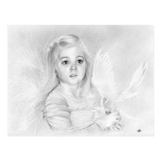 Queira saber a menina pequena do anjo com o cartão