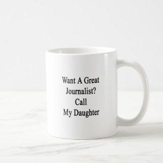Queira uma grande chamada do journalista minha caneca de café