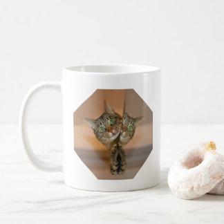 Quem é que o outro gato?  Caneca de café engraçada