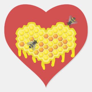 Querido da abelha e do favo de mel adesivo coração